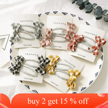 2 pcs/set Cute Koran Style Children Girls Solid Color Bow Plaid Hair Clips Hair Accessories New Lovely Kids Headwear Hairgrips
