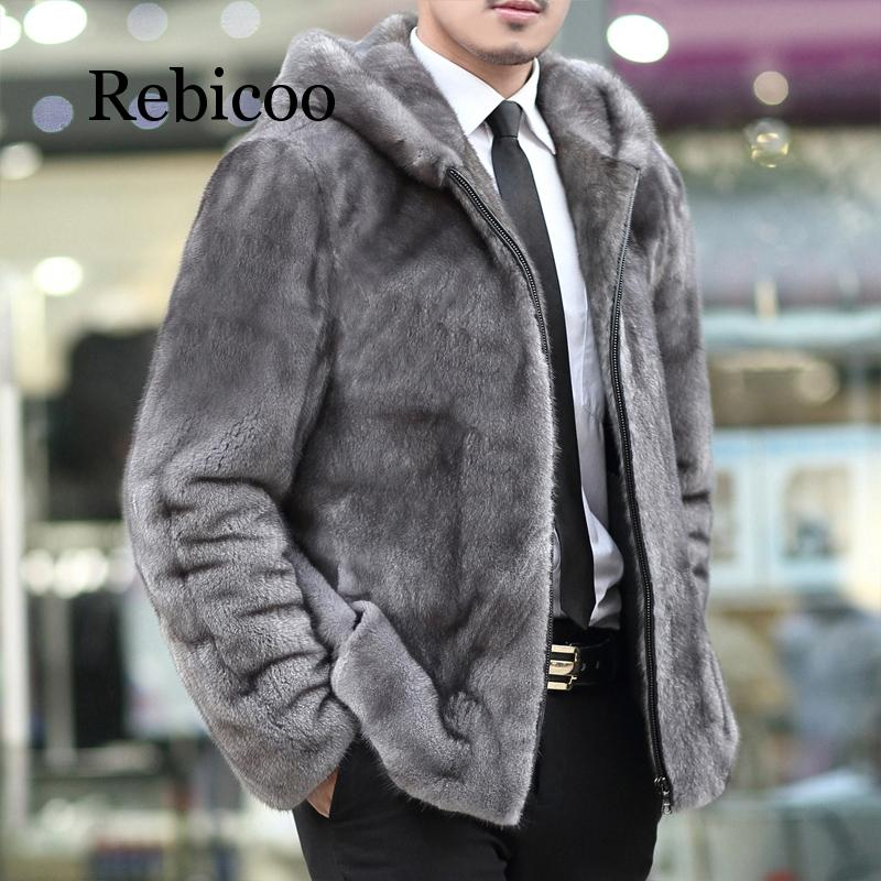 2019 Mink Leather Men's Leather Coat Lapel Tie Home Leather Hooded Jacket Coat Men's Fur Coat