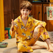Одежда для сна; Пижамы из чистого хлопка с отложным воротником