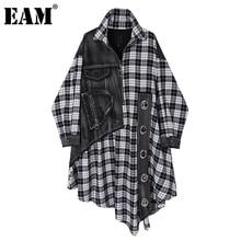 [EAM] Women Black Plaid Denim Big Size  Dress New Lapel Long Sleeve Loose Fit Fashion Tide Spring Autumn 2021 1DC284