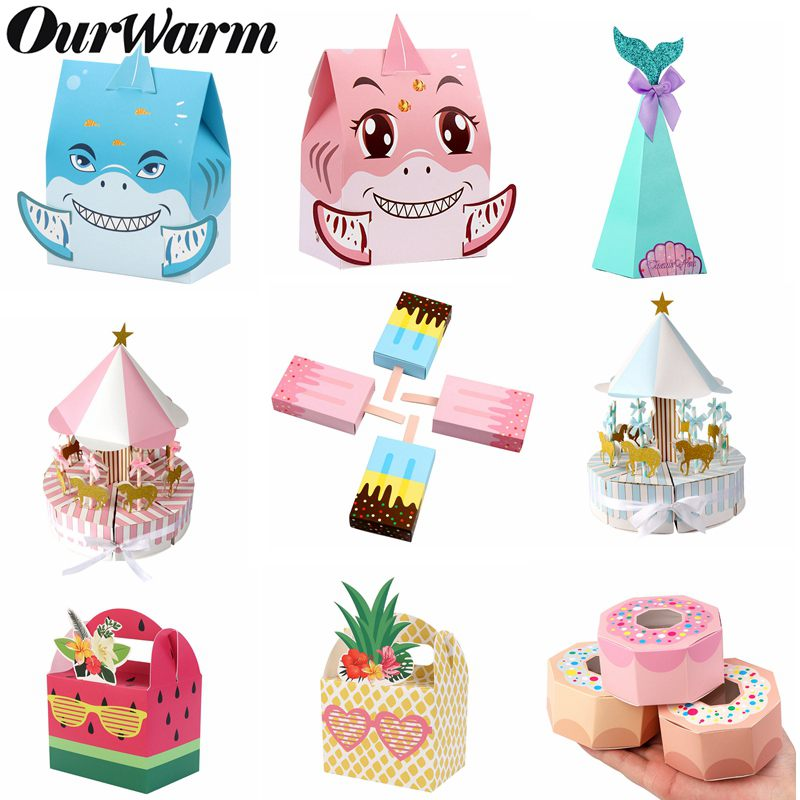 OurWarm Paper Candy Box Mermaid Favor Bag Baby Shower Gift Box Birthday Party Decorations Kids Wedding Favors And Gifts