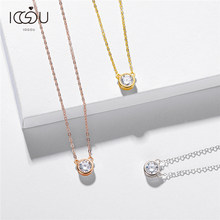 IOGOU 100% 925 Sterling Silver Real 1 Carat D Color Moissanite Pendant Necklace Women Sparkling Wedding Fine Jewelry Necklace