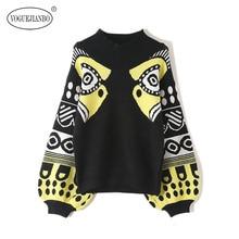 VOGUEJIANBO 2019 New women's sweater half-high collar lantern sleeves printed pullover sweater fashion veste femme  vestidos plum perkins collar long lantern sleeves sweater