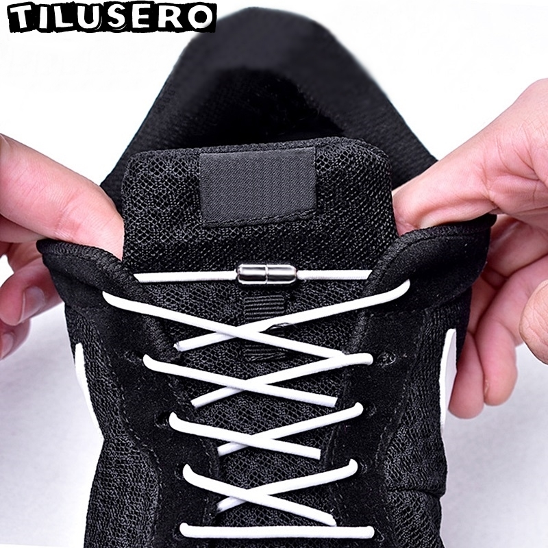 No Tie Shoelaces Elastic Metal Lock Round Shoe Laces For Kids Adult Sneakers Quick Shoelace Lazy Shoe Laces Strings Z051