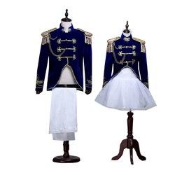 Palace Navy Blue Men Suit Set Sailor Suit Men Military Tassel Epaulettes 2 Piece (suit + pants) Couple Set Stage Costume