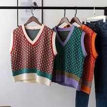 Шикарный винтажный свитер с узором ромбиками жилет для женщин