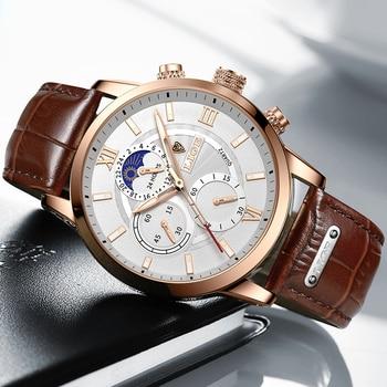 LIGE Men Watches 2021 New Fashion Leather Waterproof Luminous Top Brand Luxury Mens Quartz Wristwatch Men Relogio Masculino+box 2