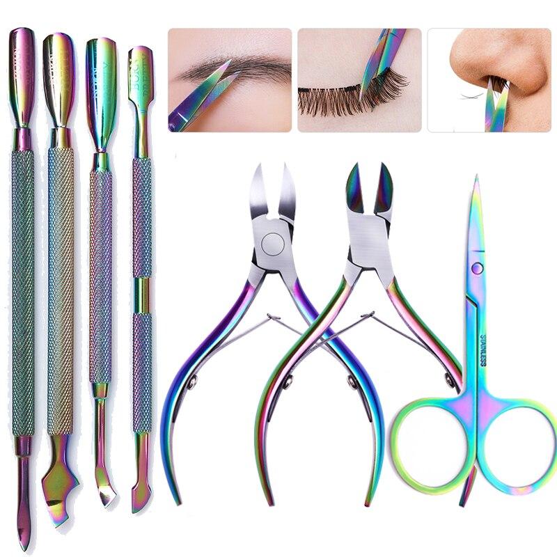 BORN PRETTY Nail Cuticle Pusher Stainless Steel Rainbow Tweezer Clipper Dead Skin Remover Scissor Plier Manicure Nail Art Tool