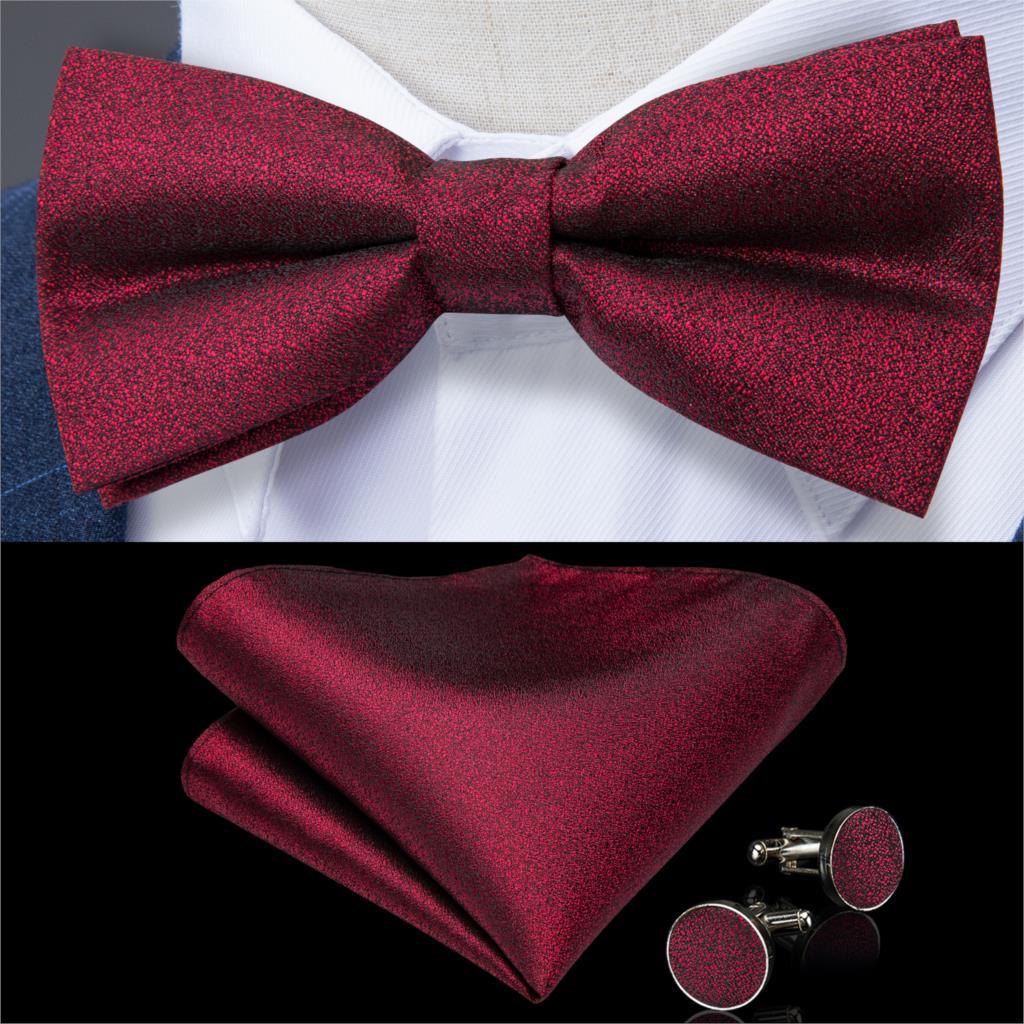 Corbata de lazo de color vino tinto para hombre, pañuelo de corbatín de seda de color liso, conjunto de gemelos, pajarita de boda de alta calidad, DiBanGu, LH-119 de fiesta de diseño a la moda