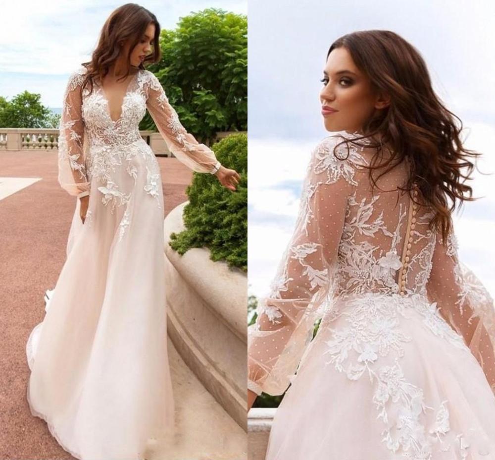 Elegant Lace Floral Vintage Beach Wedding Dresses V-neck Long Sleeves Beaded Bridal Dress A-line Sexy Boho Wedding Gowns