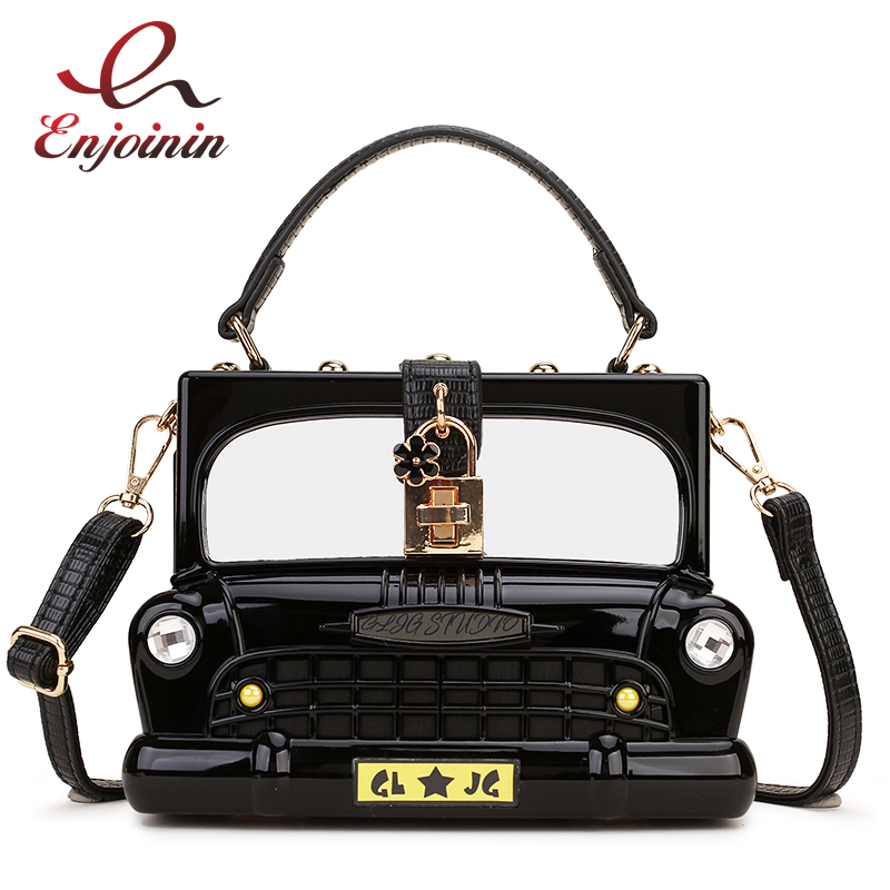 New Design Fashion Car Shape Acrylic Box Shape Women Handbag Shoulder Bag Purse Crossbody Bag Female Tote Bag Pouch