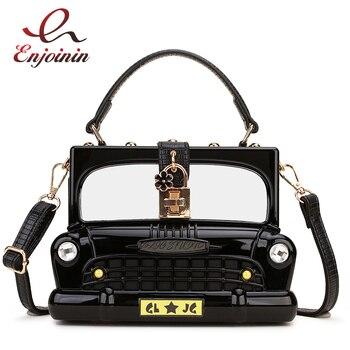 New Design Fashion Car Shape Acrylic Box Shape Women Handbag Shoulder Bag Purse Crossbody Bag Female Tote Bag Pouch cute weaving and round shape design tote bag for women