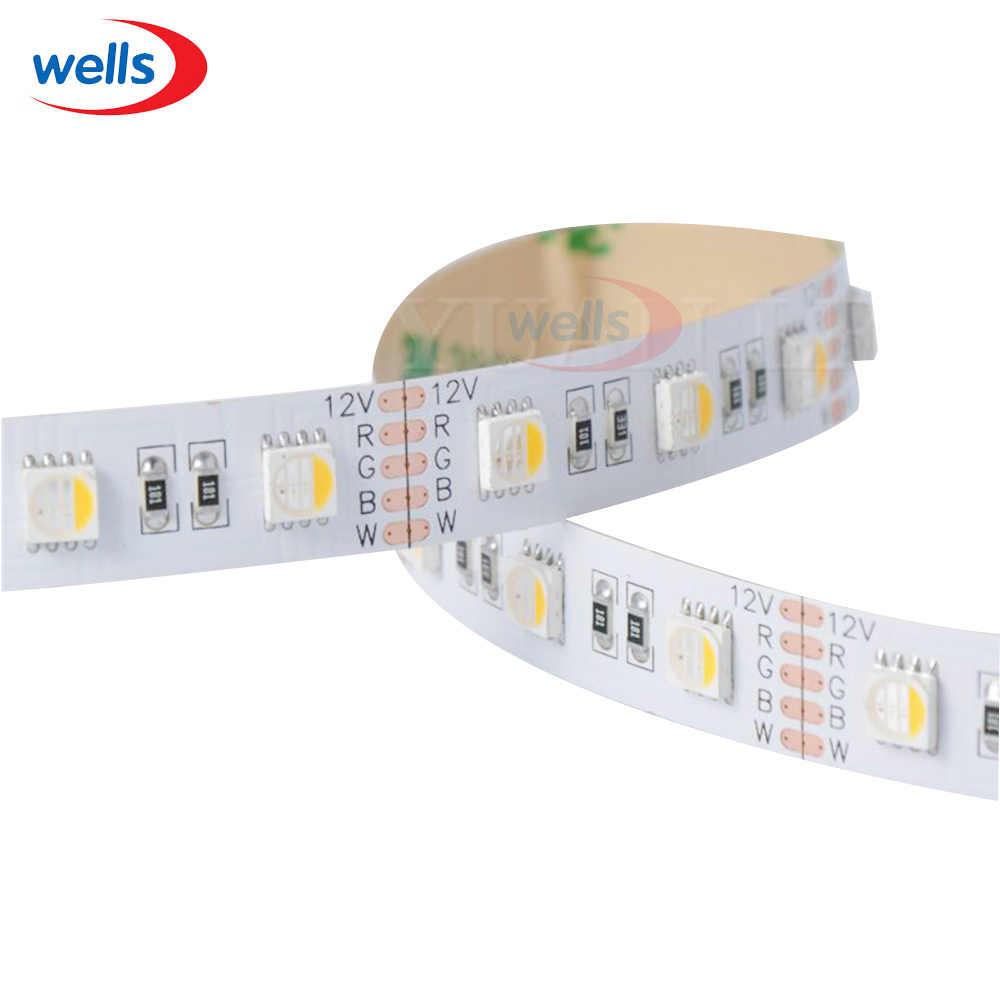 5m 5050 4-in-1 LED RGBW RGB + ciepły taśma LED zimne białe światło 60 diod LED/M biała płytka PCB 12V