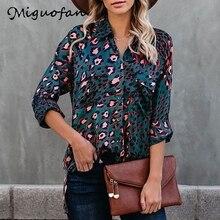 Miguofan women blouse leopard animal print blouse office lady shirts
