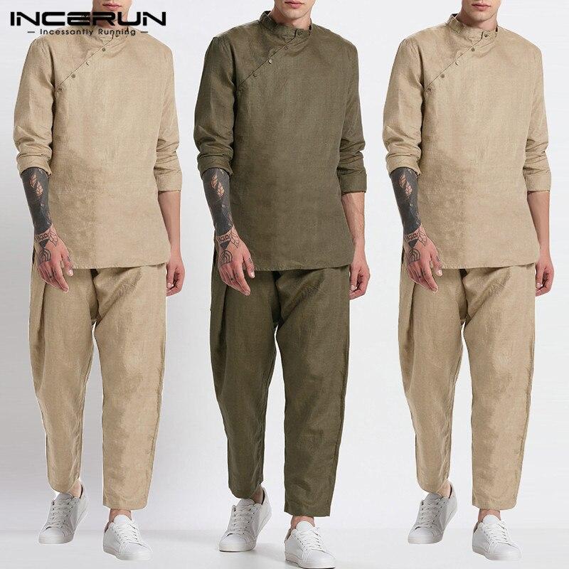 INCERUN Vintage Solid Color Suits Men Leisure Muslim Sets Long Sleeve Stand Collar Blous Elastic Pants Suits Cotton 2 Pieces 5XL