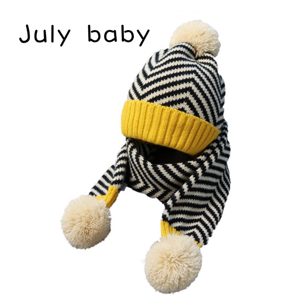 July Baby's New Soft And Comfortable Warm Baby Children's Hat Suit Boy Wool Hat Scarf Girl Hat Suit 2-5 Years Old Two-piece Suit