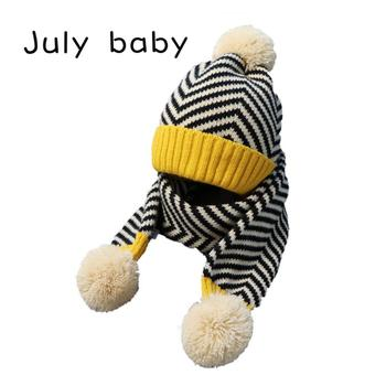 July baby's new soft and comfortable warm baby children's hat suit boy wool hat scarf girl hat suit 2-5 years old two-piece suit july baby new autumn and winter cute children s handmade knitted hat scarf two piece baby warm wool big ball scarf two piece