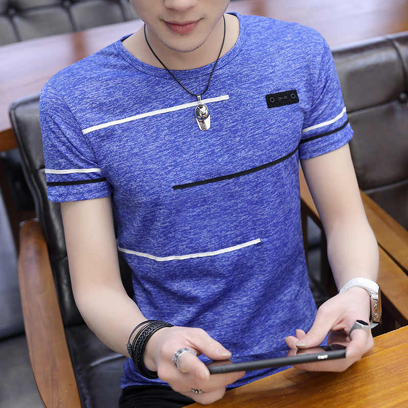 Korea Lengan Pendek T Shirt Pria O Leher Polyester Mens T Shirt Musim Panas Dingin Tee Pria Slim Kasual Anak Laki-laki Tee kemeja Homme Ukuran 4XL