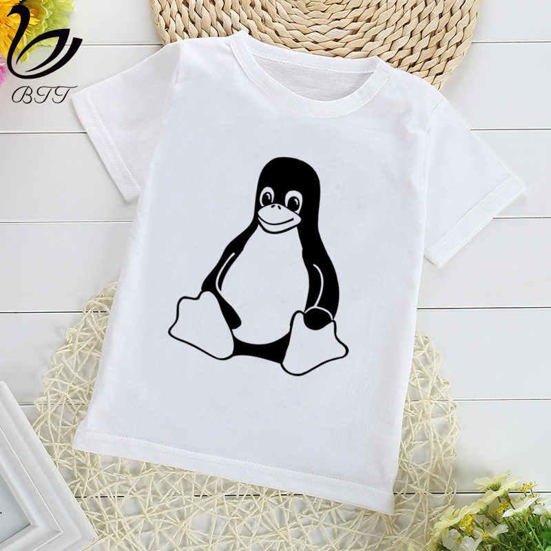 Le pingouin LINUX dans un T-Shirt d'impression d'ordinateur garçons t-shirts enfants T-Shirt à manches courtes enfant enfants vêtements