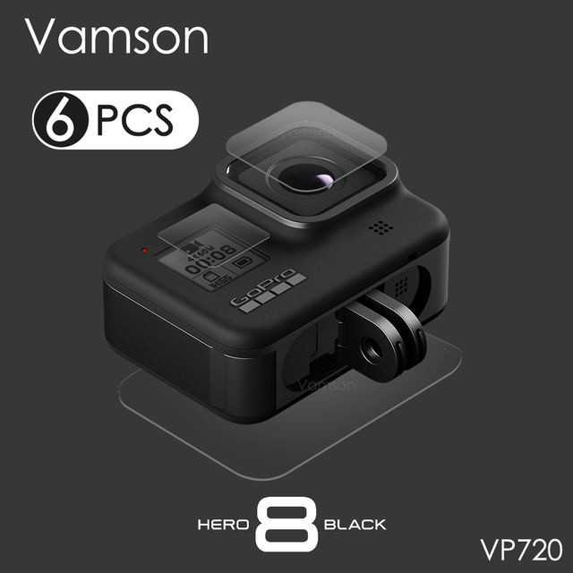Vamson for GoPro Hero 8 Black Tempered Glass Lens + LCD Screen Protector Protective Film for Go Pro 8 VP720
