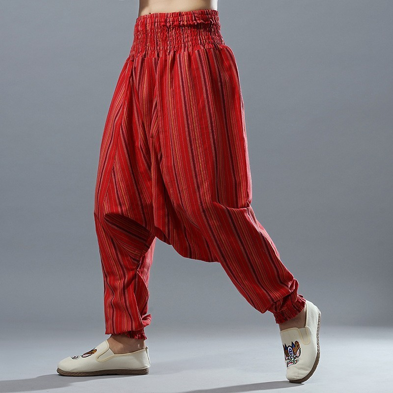 2020 New Men Casual Cotton Linen Cross-Pants Elastic Waist Stripe Big Crotch Pants Loose Wide Leg Joggers Trousers Hip Hop Male