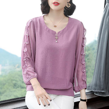 Women Spring Autumn Style Chiffon Blouses Shirts Lady Casual