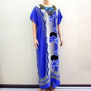 Image 5 - Африканское Дашики Dashikiage 2019, Анкара, в форме сердца, с цветочной аппликацией, синее 100% хлопковое женское платье
