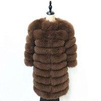 Женская теплая шуба из натурального Лисьего меха, Длинная зимняя куртка из натурального меха, модная верхняя одежда, Роскошная Шуба из нату...