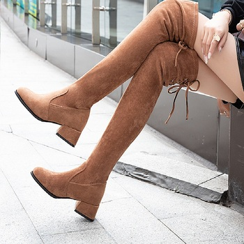 Winter Over The Knee Boots Lace up Woman Shoes Stretch Fabric Women Thigh High Sexy Round Toe Square Heel Flock Platform цена 2017
