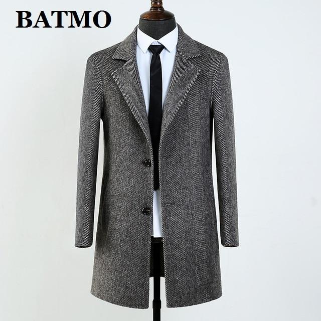 BATMO 2020 new arrival winter 80% wool trench coat men,men's grey casual wool jackets,AL52