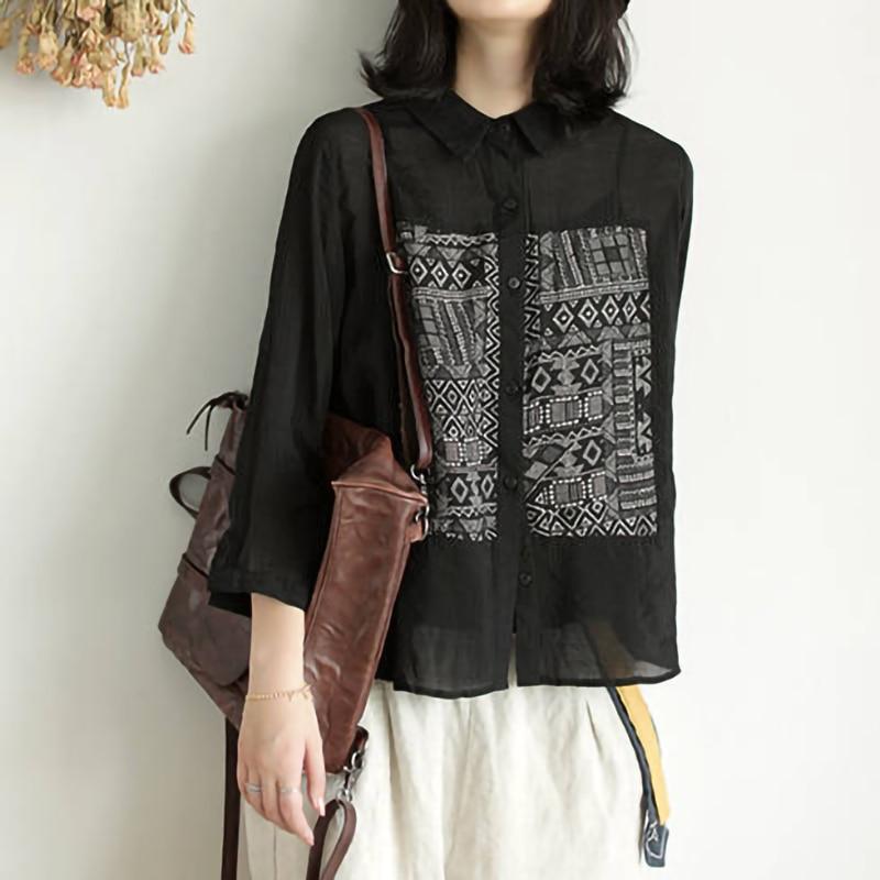 Vintage Black Blouse Long Sleeve Cotton Linen Shirt Women 2019 Button Up Tops Ladies Casual