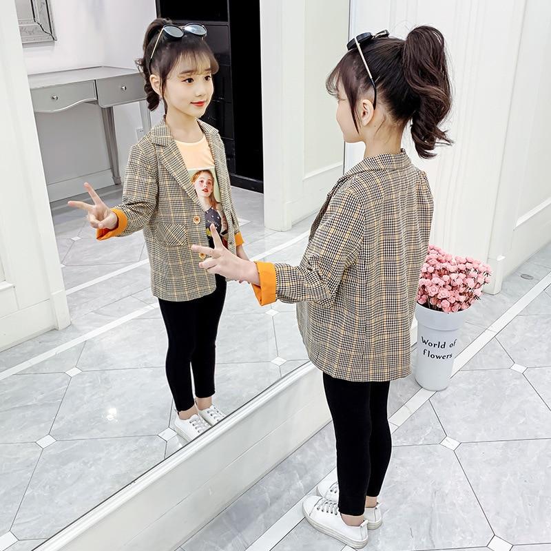 Children's Blazer For Teenage Girl Long Sleeve Cardigan Plaid Blazers Student School Uniform Outerwear Girls Casual Coat Costume 3