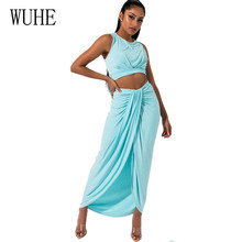 WUHE Sexy Sleeveless Hollow Out Two Pieces Sets Maxi Dress Elegant Bodycon Ruched Irregular Long Women Party Club Dresses