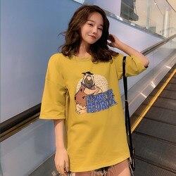 تي شيرتات قصيرة الاكمام للمرأة 2019 ملابس الصيف نمط جديد الكورية نمط فضفاضة تناسب الطلاب تنوعا الكسل على غرار قاعدة قميص نصف كم بلايز موضة