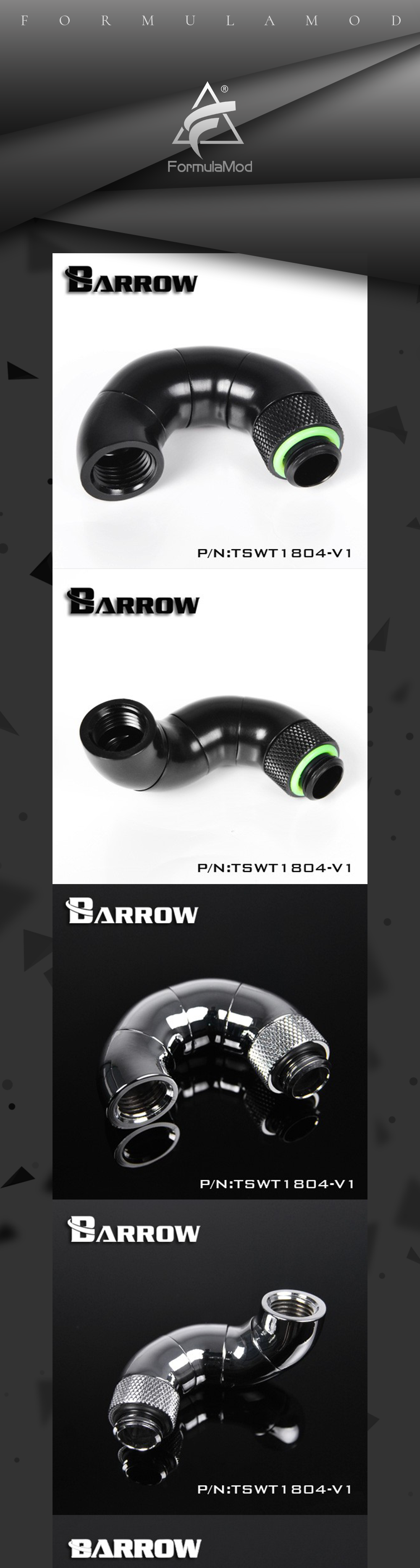 Barrow TSWT1804-V1, 180 Degree Zigzag Rotatable Fittings, Four-stage Male To Female Rotatable Fittings