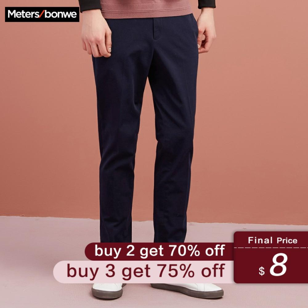 Metersbonwe Brand Men Pants Casual Business Male Trousers Classics Mid Weight Straight Length Fashion Slim Fit Micro-bomb Pant