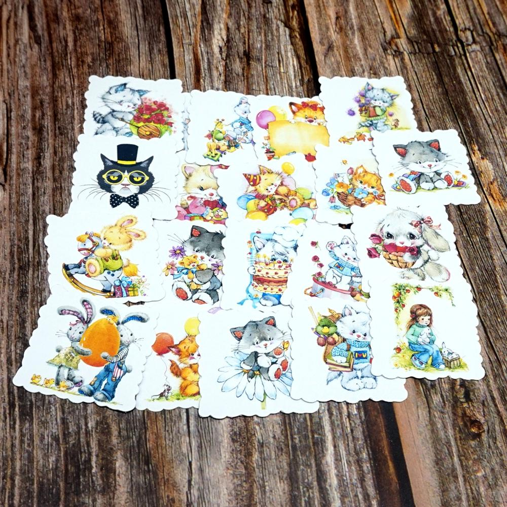 22PCS Cute Cat Waterproof Stickers Kawaii Rabbit Animals Stationery Stickers Kids Children Girls Gift Cartoon Stickers Toy