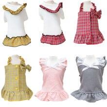 Клетчатая летняя одежда для собак платье пачка модное с воротником