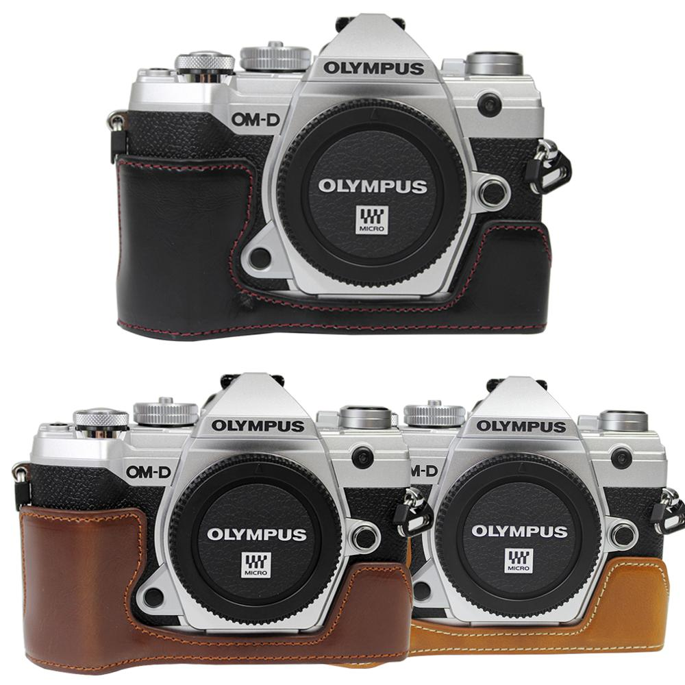 Pu Leather Case Opening Version Protective Half Body Cover Base For Olympus OMD EM5 III E-M5 Mark III EM5 MK3