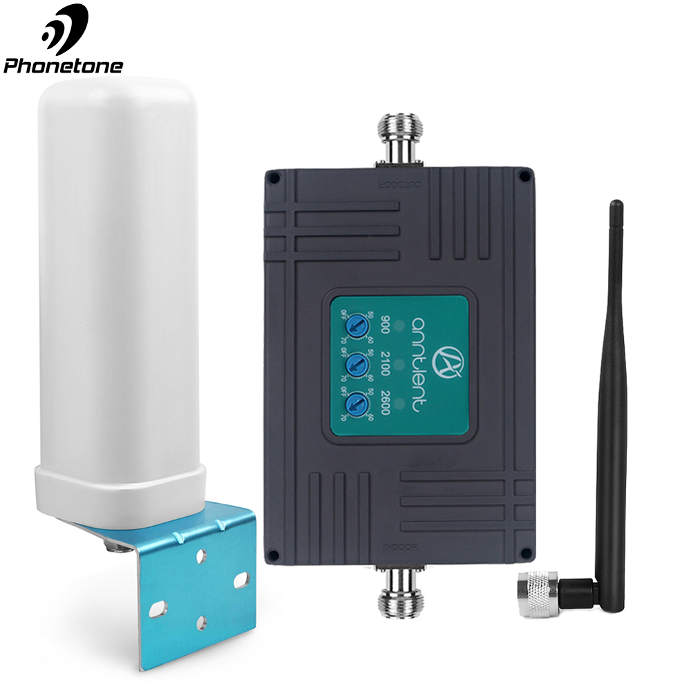 GSM 900 WCDMA 2100 LTE 2600 Mobile Phone Signal Booster 2G 3G 4G Cell Repeater 900/2100/2600MHz Cell Amplifier Boost Voice &data