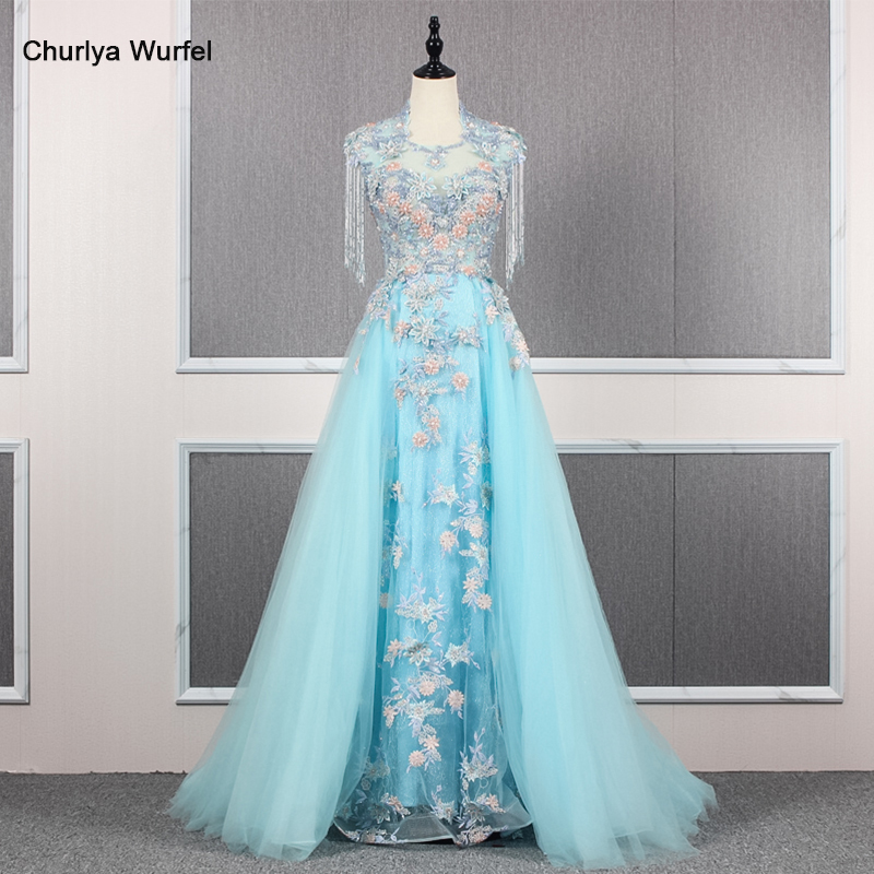 YY139 Churlya Wurfel Light Blue Woman Evening Dress O-neck Tassel Beads Appliques Zipper Back Prom Dresses A-line Abendkleider