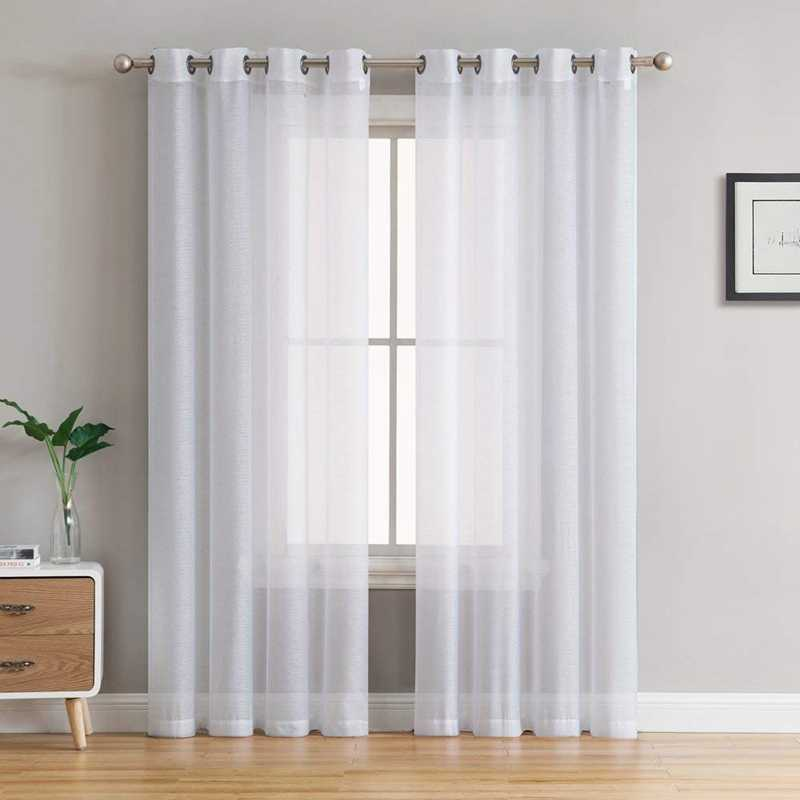 Modern Solid Color Tulle Curtains For Living Room Bedroom White Sheer Curtains For Window Linen Curtains Drapes 1 piece panels