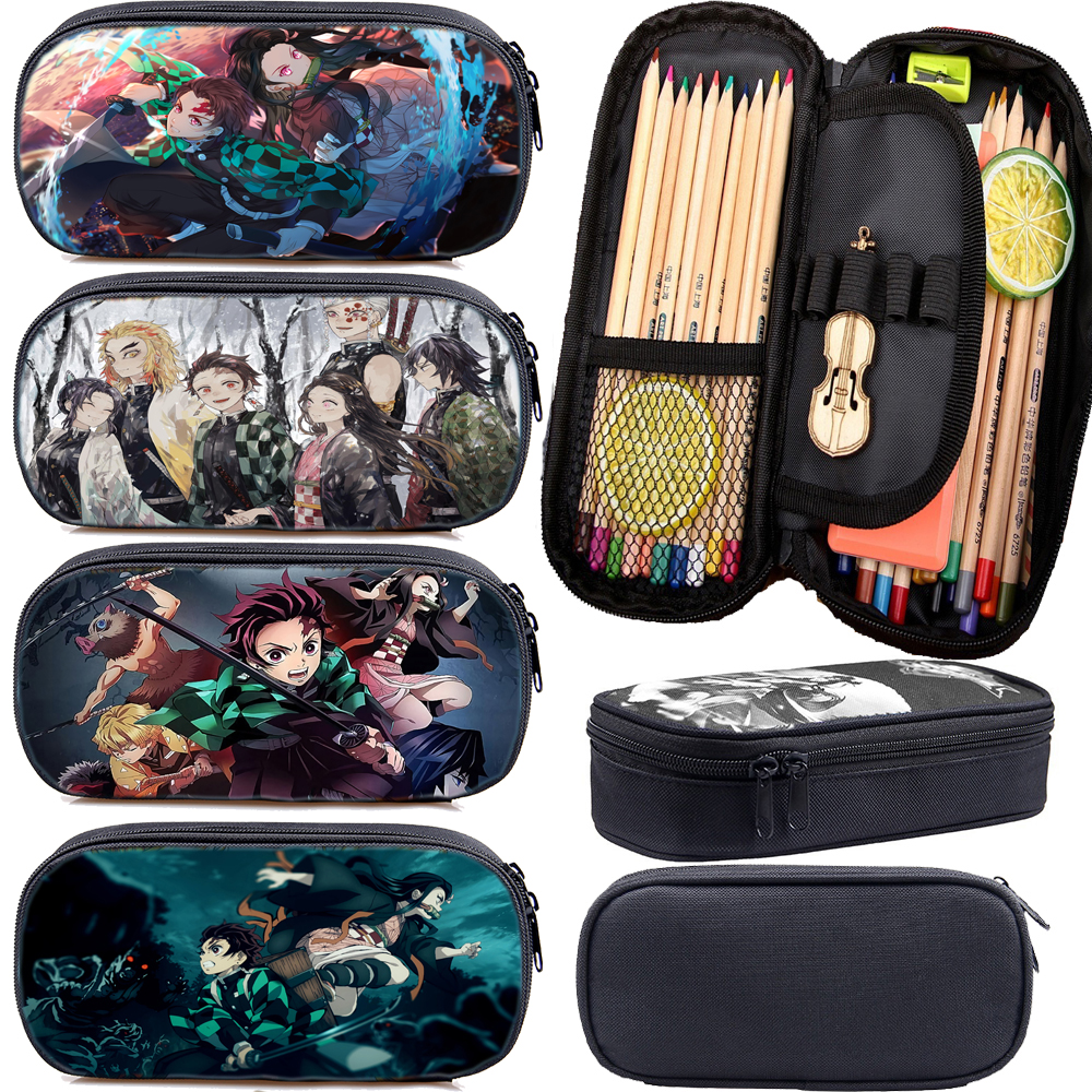 Cool Anime Kimetsu No Yaiba Pencil Case Pen Bag Teens Stationery Bag Kids Pencil Box Students Demon Slayer Pencil Holder Gift