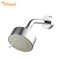 5-Function Wall Mount Shower Head with Swivel Ball Joint 4 Inch High Pressure Rain Bathroom Showerhead with Stainless Shower Arm