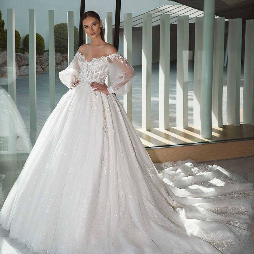 Vestido De Noiva Off Shoulder Ball Gown Wedding Dress Long Sleeve 2019 Ivory Tulle Princess Robe De Mariage Sirene Bridal Gown