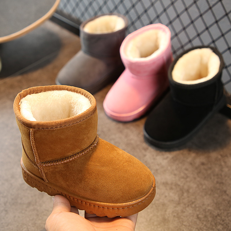 Girls Baby Leather UG Snow Boots Ankle Winter Warm Non-slip Kids Boys For Infant Toddler Shoes Little Kids Winter Boots Baby
