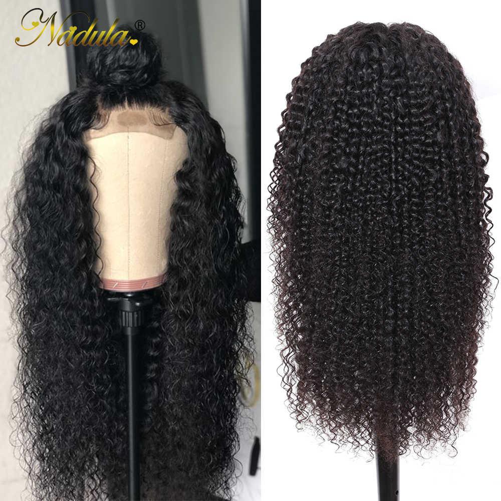 Nadula Haar 4*4 Spitze Verschluss Perücke Lockige Menschenhaar Perücken 180% /150% Spitze Perücke Mit Baby Haar Natürlichen farbe Remy Haar Vor Gezupft