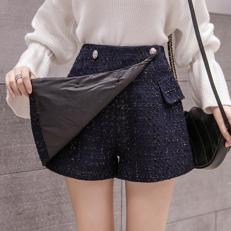 Buttons Tweed Wide-legged Shorts Skirts Autumn Winter Women Fashion Empire Shorts Girls A-line Shorts Bottoms BH6197