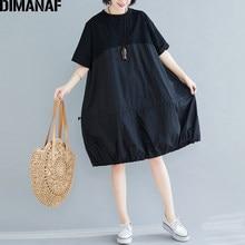 DIMANAF grande taille femmes robe été printemps coton dame Vestidos en vrac plissé vêtements décontracté épissé robe solide noir robe d'été