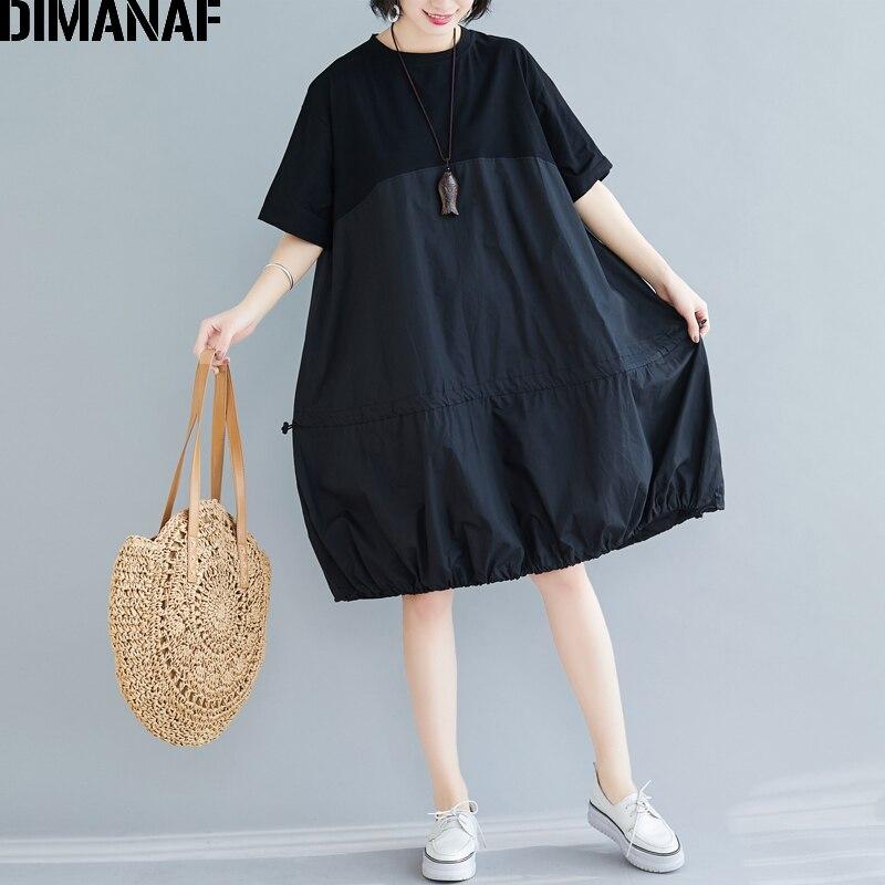 DIMANAF grande taille femmes robe été printemps coton dame Vestidos en vrac plissé vêtements décontracté épissé robe solide noir robe dété
